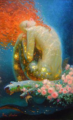 Victor Nizovtsev siren song more art by Victor. Victor Nizovtsev, Mermaid Artwork, Mermaid Paintings, Mermaids And Mermen, Psychedelic Art, Fantasy Artwork, Aesthetic Art, Oeuvre D'art, Art Inspo