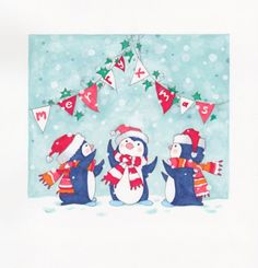 Новогодние иллюстрации Annabel Spenceley, пингвины