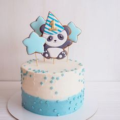 Baby Boy Birthday Cake, 2nd Birthday, Bolo Panda, Panda Bebe, Icing, Frosting, Cake Decorating Techniques, Cakes For Boys, Cake Cookies