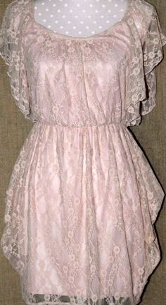 womens dress/small/pink lace/lined/butterfly sleeves #Backless #Lacey #YouDecide