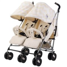 My Babiie Billie Faiers Cream Chevron Twin Pushchair/Stroller - Includes Raincover Compact Fold Includes Raincover Lockable swivel front wheels Front and rear wheel suspension Suitable from Birth - My Babiie, Katie Piper, Twin Strollers, Travel Systems For Baby, Large Storage Baskets, Rose Gold Frame, Baby Boutique Clothing, Twin Babies, Twins