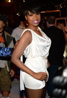 Jennifer Hudson stood out in her pristine white silky mini-dress featuring a flattering cowlneck, cinched waist and draped skirt at the Versus Versace afterparty http://dailym.ai/1we6Kct #NYFW