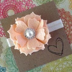 PALE Peach Large Wool Felt Flower Headband Baby by HipAndHail, $6.50