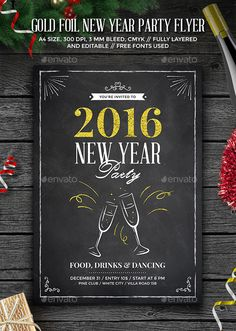 Gold Foil New Year Party Flyer