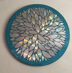 Excited to share this item from my shop: one of a kind Unique Upcycle Old Cd's and Glitter inch Mosaic Round Wall art / Table top, Coated in resin. Crafts With Cds, Old Cd Crafts, Upcycled Crafts, Diy With Cds, Recycled Art Projects, Cd Mosaic, Mosaic Crafts, Mosaic Mirrors, Mosaic Projects