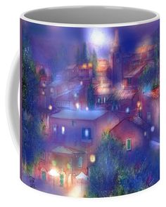 Moonlight Over Roussillon Coffee Mug featuring the painting Moonlight over Roussillon Provence by Sabina Von Arx Mugs For Sale, Creative Colour, Unique Coffee Mugs, Basic Colors, Painting Techniques, Color Show, Provence, Moonlight, Colorful Backgrounds
