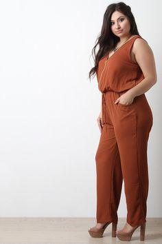 c684cb5cffb3 Chiffon Zip-Up Sleeveless Jumpsuit. RompersNecklinePlus Size ...