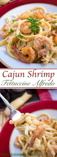 This Cajun Shrimp Fettuccine Alfredo is creamy and full of spicy Cajun flavour. Serve with a side of breadsticks for an easy and delicious pasta dinner! Cajun Shrimp Fettuccine Alfredo is creamy and full of spicy Cajun flavour. Cajun Shrimp Fettuccine Alfredo Recipe, Cajun Shrimp Recipes, Cajun Shrimp Pasta, Fettucine Alfredo, Seafood Recipes, Pasta Recipes, Chicken Fettuccine, Keto Recipes, Cooking Recipes
