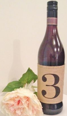 well wishes in wine bottle open on anniversary 10 x Wedding Burlap Hessian Wine Bottle Label Table Number Rustic No's 1-10