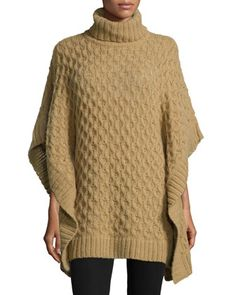 Turtleneck+Textured+Poncho+by+MICHAEL+Michael+Kors+at+Neiman+Marcus.