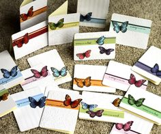 embossing folders with copic colored butterflies with glitter, (fast, simple coloring, not layers)