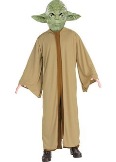 Jedi Yoda Costume Yoda Boys Costume features a hooded robe, a dark gold jumpsuit and green Yoda mask with detailing of wrinkles and large pointy ears. Be the wise Yoda in . Costume Star Wars, Costume Garçon, Boy Costumes, Adult Costumes, Knight Costume, Funny Costumes, Mascot Costumes, Yoda Halloween Costume, Costume Ideas