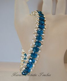 Blue Faceted Crystal Handcrafted Silver Design by ArtisticTouches, via Etsy