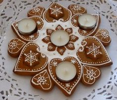 Kuchen-Adventskranz Kerzen