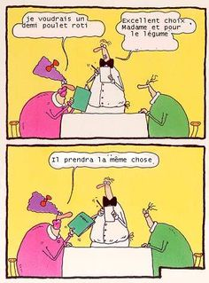 Et le légume ? - And for the vegetable? Seitan, Memes Super Graciosos, Memes Gratis, Restaurant Humor, Funny French, Humor Grafico, Teaching French, Writing Inspiration, Comic Strips