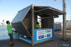 Commercial kiosk / steel / prefab / for public spaces CUVE ® ESTEVA Container Restaurant, Container Cafe, Container Design, Kiosk Design, Cafe Design, Signage Design, Design Design, Graphic Design, Information Kiosk
