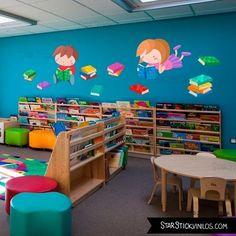 Risultati immagini per ideas para bibliotecas escolares School Library Decor, Preschool Library, Preschool Decor, Kids Library, Kindergarten Classroom, Preschool Activities, Classroom Layout, Classroom Design, Classroom Themes