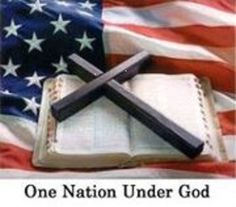 The American flag, Bible and the Cross
