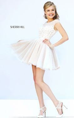 A-Line Sherri Hill 11267 Short Cocktail Dress Ivory