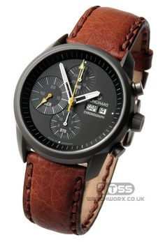 The Atlas leather watchstrap is fitted with a satin brushed heavy duty Inox buckle