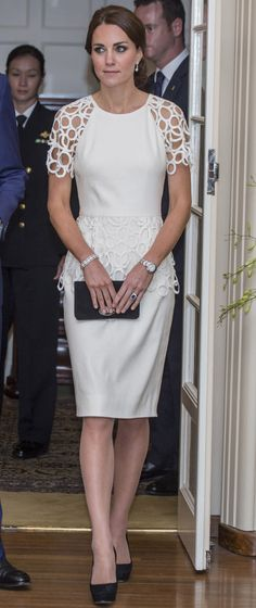 Cutout sleeves added extra eye appeal to Kate's Lela Rose design.