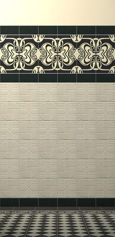 Art Nouveau tiles #bathroom  saved for the texture - such a cool idea