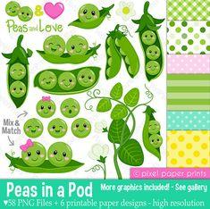 Peas in a Pod Clipart - Clip Art and Digital paper set