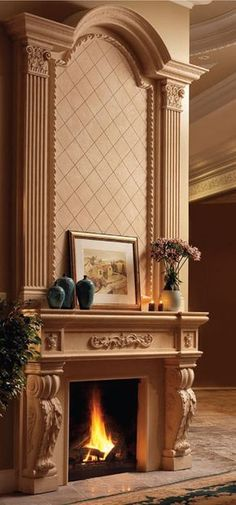 Fireplace Mantels for sale in the USA and Canada. Choose yours among our prestigious collection or create a - one-of-kind - custom chimney mantel for your home. Fireplace Mantels For Sale, Tv Above Fireplace, Fireplace Bookshelves, Small Fireplace, Fireplace Remodel, Fireplace Mantle, Fireplace Surrounds, Fireplace Design, Cast Stone Fireplace