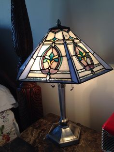 Silver stained glass lamp