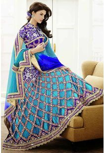 Buy Grey & Yellow Jacquard & Net Lehenga Saree Comes With A Contrast Red Blouse online - Glowindian