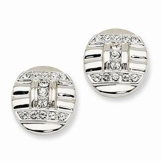 NEW JBK JACQUELINE BOUVIER KENNEDY ART DECO SILVERTONE EARRINGS CAMROSE & KROSS #CamroseKross