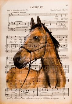 "Original Watercolor Painting on Antique Book Page from The Scottish Student Song Book 10"" x 7"" ""Horse I"" Hand Painted and signed by the artist Julia Cami. Approx. Size: 10 1/2"" x 7 1/2"" UNFRAMED © Art Enchanted Woods"