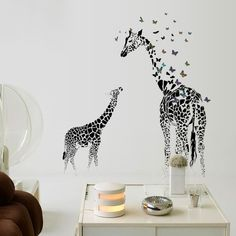3D two Giraffe Butterfly DIY Vinyl Wall Stickers For Kids Rooms Home Decor Art Decals Wallpaper decoration adesivo de parede-in Wall Stickers from Home & Garden on Aliexpress.com | Alibaba Group