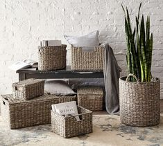 Handcrafted of seagrass, each basket keeps clutter out of sight & everyday necessities within reach. These baskets are handy in almost any room of the home and can hold everything from desk accessories in a home office to essentials in the Pottery Barn Baskets, Rustic Baskets, Storing Blankets, Furniture Slipcovers, Outdoor Furniture, Custom Rugs, Desk Accessories, Storage Baskets, Lid Storage