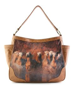 Look at this Brown Charging Horses Edie Leather Handbag on today! Icon Shoes, Icon Collection, Medium Tote, Beautiful Bags, Leather Working, Leather Handbags, Take That, Horses, Shoulder Bag