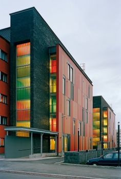 Image 1 of 31 from gallery of Muurikuja 1 Housing / ARK-house Architects. Photograph by Jussi Tiainen Arch Building, Mix Use Building, Building Facade, Colour Architecture, Facade Architecture, Interior Exterior, Exterior Design, Colourful Buildings, Composition Design