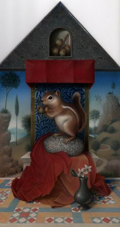 Koo Schadler: Portfolio: Egg Tempera Nature I ok so I put one of these on the fine art board -- but really ? a chipmunk alter?