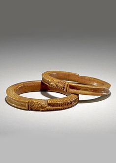 Nigeria   Pair of bracelets; probably from the Edo people.  Benin City, Edo State   Carved from elephant ivory   ca. 1897 or earlier