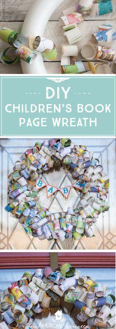 DIY Children's Book Page Wreath; Children's Book Decor; DIY Baby Shower Decor; DIY Kid's Party Decor
