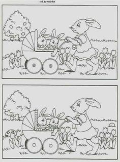 Find the differences Easter Activities, Kids Learning Activities, Preschool Worksheets, Kindergarten Activities, Easter Colouring, Coloring For Kids, Colouring Pages, Easter Art, Easter Crafts