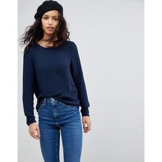 Vero Moda Long Sleeve T-Shirt (€15) ❤ liked on Polyvore featuring tops, t-shirts, navy, tailored t shirts, navy blue top, navy blue tee, navy long sleeve t shirt and longsleeve t shirts