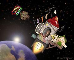 Handmade rocket- BumbleBeesh by #childrensillustrator