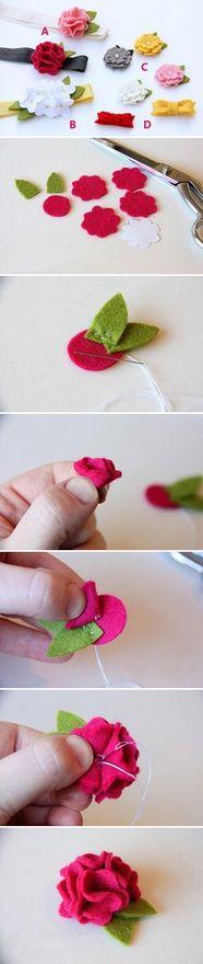 Flores de fieltro crafts