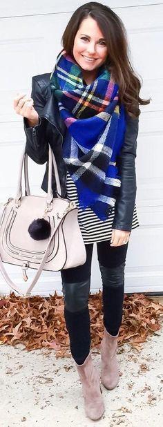 Black Leather Jacket / Printed Scarf / Striped Dress / Brown Booties / Black Leggings
