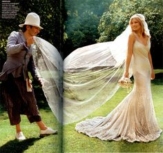 Image Of The Day: John Galliano And Kate Moss On Her Wedding Day// lovely pic and gorgeous dress!!