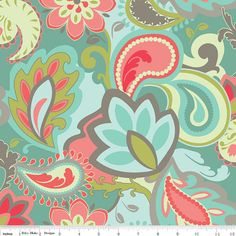 Verona RB Fabric Big Flowers Floral Paisley by AllegroFabrics, $ 9.75 gorgeous colour combo! Wrap over canvas?