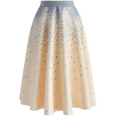 Chicwish Falling Dots Airy A-line Skirt in Beige (135 PEN) ❤ liked on Polyvore featuring skirts, bottoms, beige, print skirt, patterned skirts, geometric print skirt, polka dot skirts and beige a line skirt