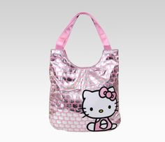 Hello Kitty Satin Tote Bag: Pink And Silver