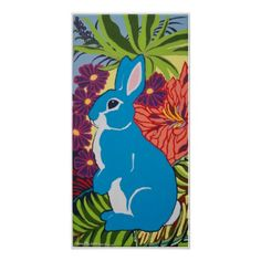Tropical Turquoise Bunny Rabbit Floral Poster - diy cyo customize create your own personalize