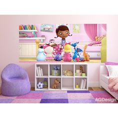 WallandMore Disney Doc McStuffins Wall Decal Mural For Girls Bedroom W by H - Gift For Her - Room. - for mom discount Wall Murals, Wall Decal, Decals, Sweater Pillow, Blue Back, Doc Mcstuffins, Shirts For Teens, Girls Tees, Discount Travel